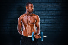 Imagen compuesta de la pesa de gimnasia de elevación descamisada del hombre joven del ajuste serio ilustración del vector