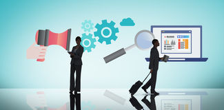 Imagen compuesta de la tableta de la tenencia de la empresaria ilustración del vector