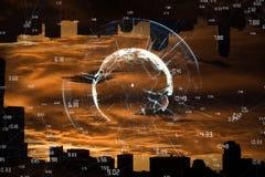 Imagen compuesta de la imagen de la tierra con momentos diferentes Imagenes de archivo