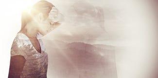Imagen compuesta de la vista lateral de la mujer deprimida Fotografía de archivo libre de regalías