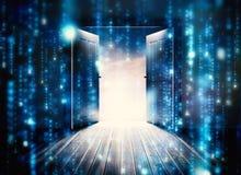 Imagen compuesta de las puertas que se abren para revelar el cielo hermoso Imágenes de archivo libres de regalías