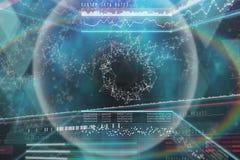 Imagen compuesta de las tarifas de datos de sistema con la representación gráfica 3d Imágenes de archivo libres de regalías