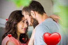 Imagen compuesta de los corazones 3d de los pares y de las tarjetas del día de San Valentín Fotografía de archivo libre de regalías