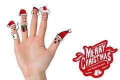 Imagen compuesta de los fingeres del caroler de la Navidad stock de ilustración