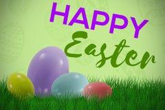 Imagen compuesta de los huevos de Pascua coloreados multi grandes y pequeños stock de ilustración