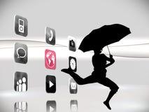 Imagen compuesta de los iconos futuristas del app en el fondo blanco