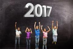 Imagen compuesta de los niños que saltan en el parque stock de ilustración
