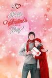 Imagen compuesta de los pares de las tarjetas del día de San Valentín Fotografía de archivo