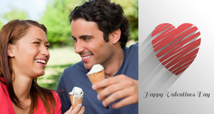 Imagen compuesta de los pares lindos de las tarjetas del día de San Valentín Imagen de archivo