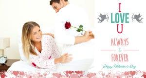 Imagen compuesta de los pares lindos de las tarjetas del día de San Valentín Foto de archivo libre de regalías