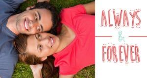 Imagen compuesta de los pares lindos de las tarjetas del día de San Valentín Imagen de archivo libre de regalías