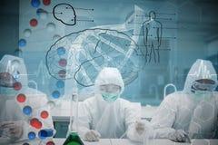 Imagen compuesta de los químicos que trabajan en traje protector con el interfaz futurista que muestra la DNA Imagenes de archivo