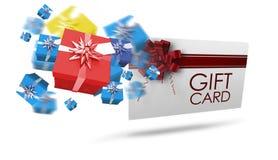 Imagen compuesta de los regalos de Navidad del vuelo Imagen de archivo libre de regalías