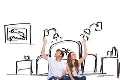 Imagen compuesta de pares jovenes felices con las manos aumentadas Fotos de archivo libres de regalías