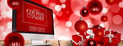 Imagen compuesta de regalos rojos con el arco blanco Foto de archivo libre de regalías