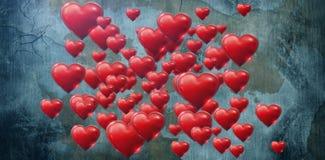 Imagen compuesta de varios corazón rosado en el día de tarjetas del día de San Valentín blanco del fondo Imagen de archivo