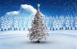Imagen compuesta del árbol de navidad con las chucherías y la estrella Foto de archivo libre de regalías