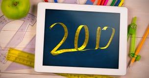 Imagen compuesta del Año Nuevo digital 3D escrito con cinta métrica Fotos de archivo