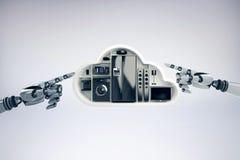 Imagen compuesta del aparato eléctrico negro en forma de la nube Imagenes de archivo