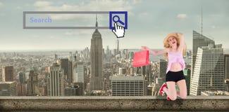 Imagen compuesta del blonde bastante joven que sostiene los panieres Foto de archivo