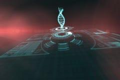 Imagen compuesta del botón iluminado del volumen con el filamento 3d de la DNA foto de archivo libre de regalías