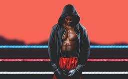 Imagen compuesta del boxeador que presenta después de fracaso Fotografía de archivo