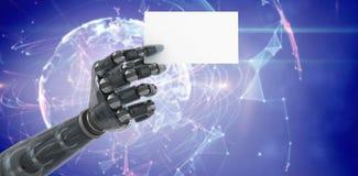 Imagen compuesta del cartel robótico digital generado 3d del espacio en blanco de la tenencia de brazo Foto de archivo libre de regalías