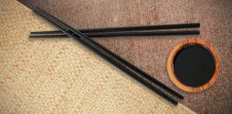 Imagen compuesta del cierre para arriba de palillos negros Foto de archivo libre de regalías