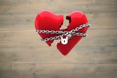 Imagen compuesta del corazón bloqueado Fotografía de archivo libre de regalías