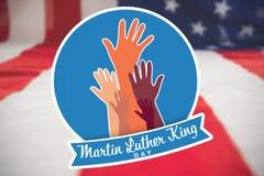 Imagen compuesta del día de Martin Luther King con las manos stock de ilustración