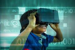 Imagen compuesta del diseño azul de la tecnología con código binario Fotos de archivo libres de regalías