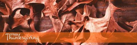 Imagen compuesta del ejemplo del saludo feliz del texto del día de la acción de gracias Imagen de archivo