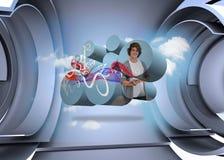 Imagen compuesta del estudiante con la tableta en la pantalla abstracta stock de ilustración