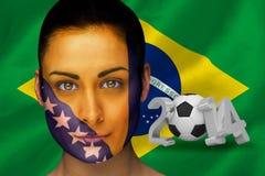 Imagen compuesta del fanático del fútbol de Bosnia en pintura de la cara Imagen de archivo libre de regalías