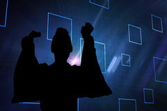 Imagen compuesta del fondo negro con los cuadrados azules Imagen de archivo libre de regalías