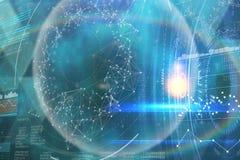 Imagen compuesta del fondo negro futurista con los círculos 3d Imagen de archivo libre de regalías