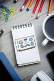 Imagen compuesta del garabato de los logotipos Fotos de archivo libres de regalías