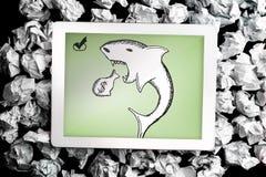 Imagen compuesta del garabato del tiburón de préstamo Imagen de archivo libre de regalías