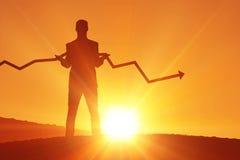 Imagen compuesta del hombre de negocios con la flecha Fotografía de archivo
