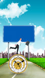 Imagen compuesta del hombre de negocios feliz que salta con su cartera Fotografía de archivo libre de regalías