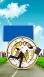 Imagen compuesta del hombre de negocios feliz que salta con su cartera Imagen de archivo libre de regalías