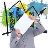 Imagen compuesta del hombre de negocios que lleva a cabo la muestra en blanco delante de su cabeza Imagen de archivo