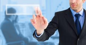 Imagen compuesta del hombre de negocios que señala estos fingeres en la cámara imagenes de archivo