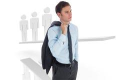 Imagen compuesta del hombre de negocios serio que sostiene chaqueta Imagen de archivo