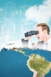 Imagen compuesta del hombre de negocios sorprendido que mira a través de los prismáticos Imagenes de archivo