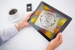 Imagen compuesta del hombre que usa la PC de la tableta Imagen de archivo libre de regalías
