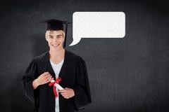 Imagen compuesta del individuo adolescente que celebra la graduación Fotos de archivo libres de regalías