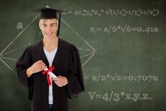 Imagen compuesta del individuo adolescente que celebra la graduación Imágenes de archivo libres de regalías