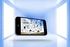 Imagen compuesta del intercambio de ideas en la pantalla del smartphone Fotografía de archivo libre de regalías