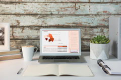 Imagen compuesta del interfaz del negocio con los gráficos y los datos Imagen de archivo libre de regalías